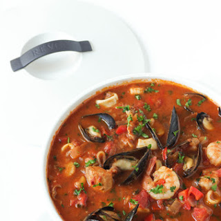 Cioppino (Seafood Stew) with Mashed Potatoes.
