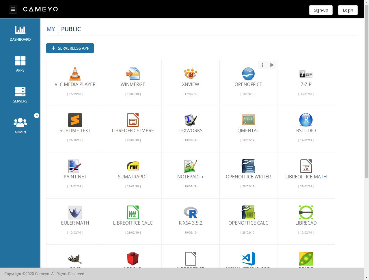 Screenshot of Cameyo's digital workspace solution