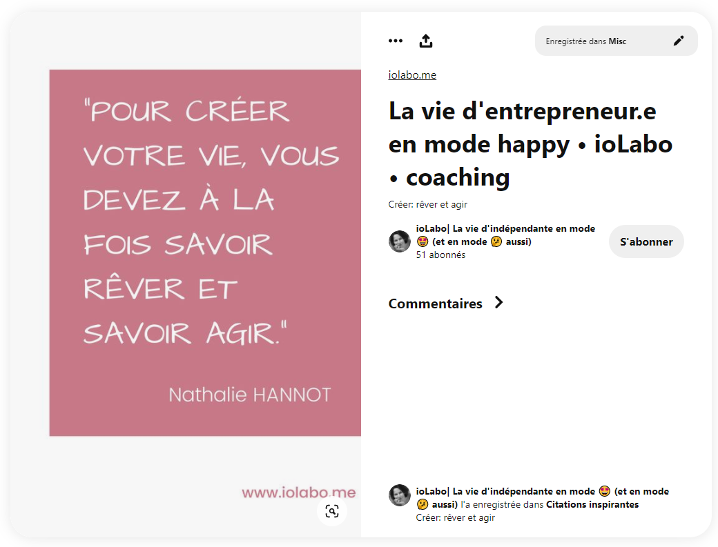 Exemple d'épingle avec une citation sur Pinterest