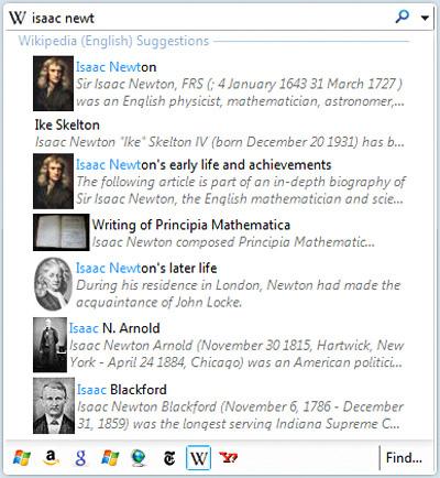 Internet Explorer 8 instant search