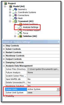 ANSYS Задание систем единиц измерения в настройках решателя: по умолчанию и по выбору пользователя