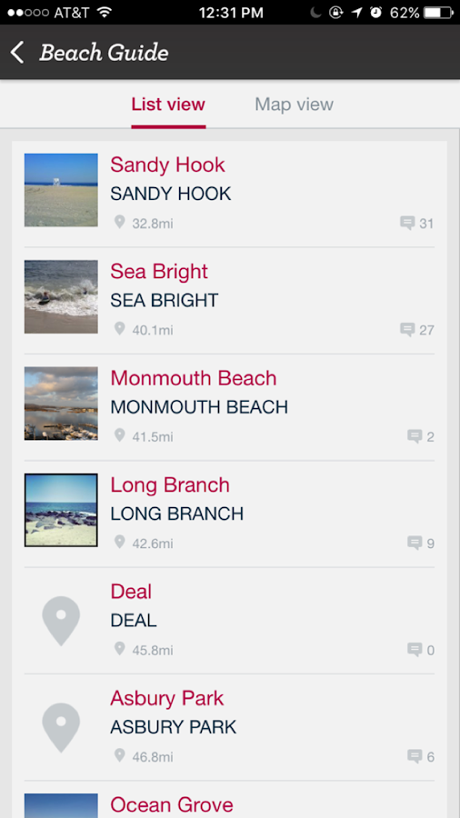 Jersey Shore Beach Guide- screenshot