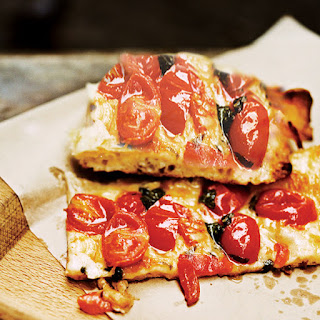 Roman Style Pizza with Roasted Cherry Tomatoes.