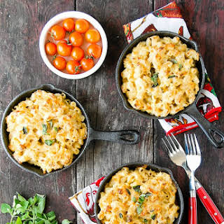 Creamy Roasted Green Chile Chicken Macaroni and Cheese.