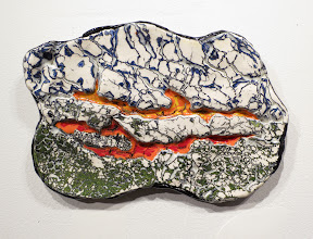 """Photo: """"Lava"""" Underglaze layers applied to greenware, scraped off, fired, then clear glazed."""
