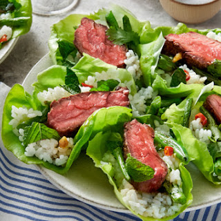Thai Steak Lettuce Cups with Spicy Green Beans & Sushi Rice Recipe