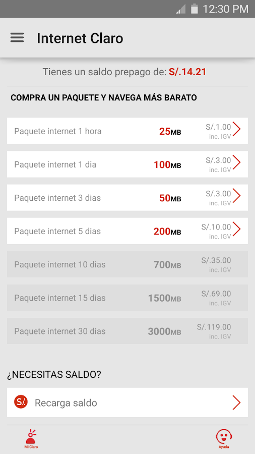 Internet Claro: captura de pantalla