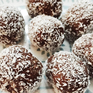 Healthy Dessert Cocoa Balls with Protein Powder.
