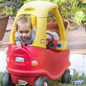 Playing in the toy car by Sean Markus - Babies & Children Toddlers ( toy car, kid, toddler smile, toddler playing )
