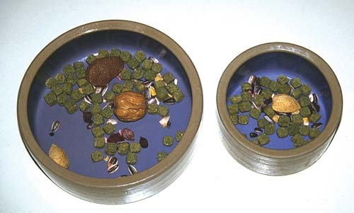 An aviculturist's food bowls for macaws and large cockatoos on the left and Amazons and African greys on the right