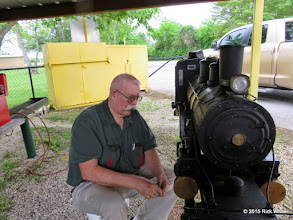Photo: Clyde Brown working on his steam loco to get it ready to run at a spring meet.    HALS Work Day 2015-0411 RPW