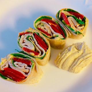 Roasted Red Pepper & Turkey Pinwheel Wraps.