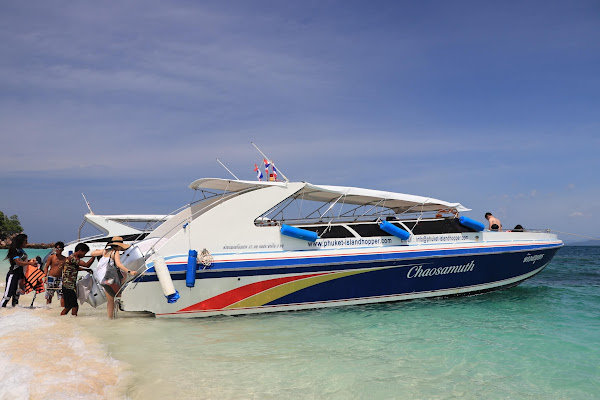 Board the comfortable speed boat directly at the beach