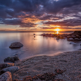 Sunset by Bent Velling - Landscapes Sunsets & Sunrises ( water, canon 6d, lee 0.9, benro, color, sunset, moss, beach, skies, norway )