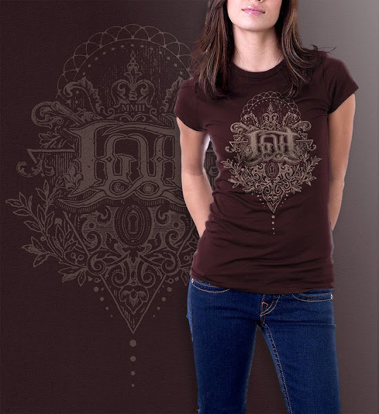 """Photo: """"Children of the key-hole"""" 1 color print. Chocolate brown shirt. Sizes: S, M"""