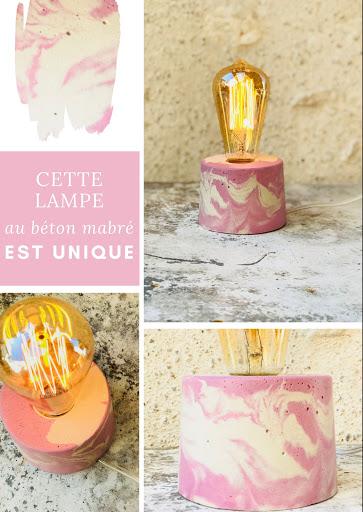 lampe béton rose pastel