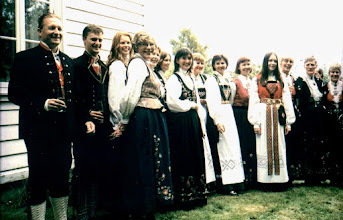 Photo: Edith's wedding party in traditional Norwegian dress. Telemark and Rogaland Bunads.
