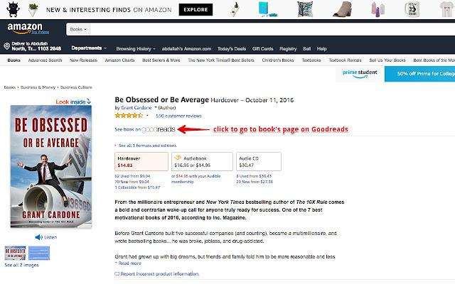 1 click amazon books to goodreads