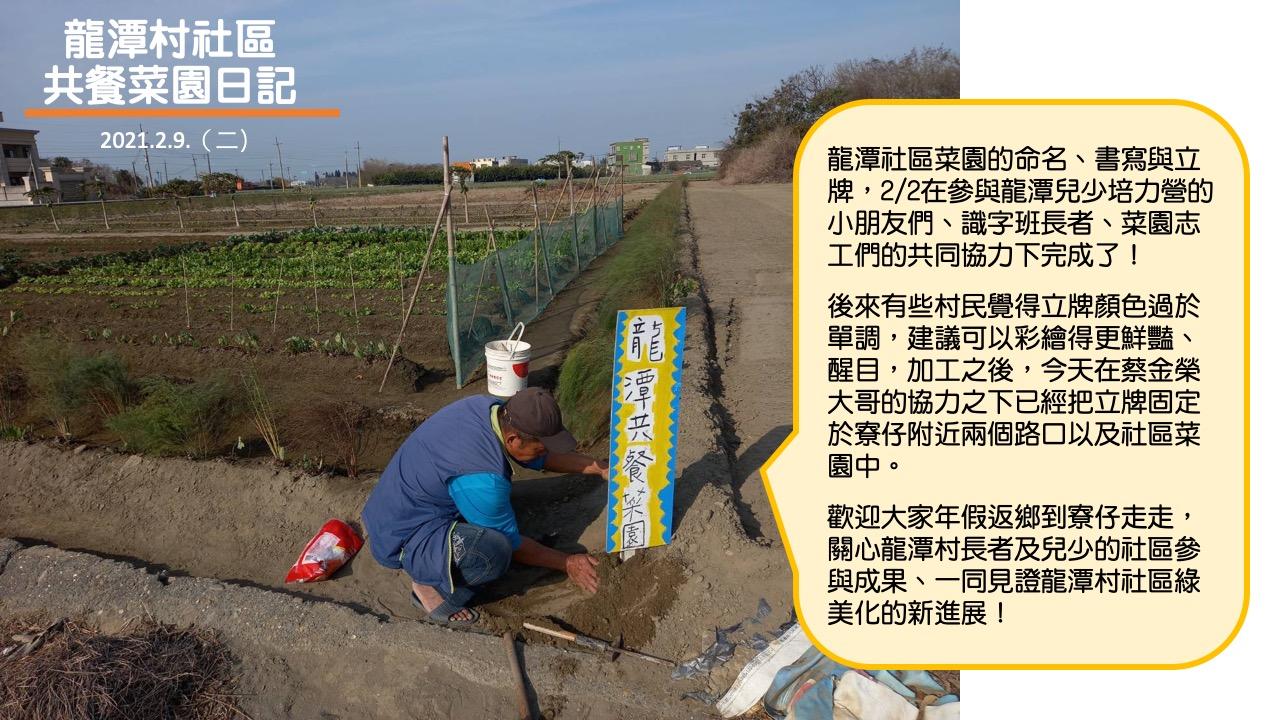 龍潭村社區公共菜園日記:二月九日