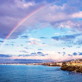 Watch the rainbow by Inna Fangel - Landscapes Waterscapes ( blue, nature, rainbow water, landscape,  )