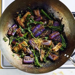 Braised Eggplant and Broccolini with Fried Ginger.