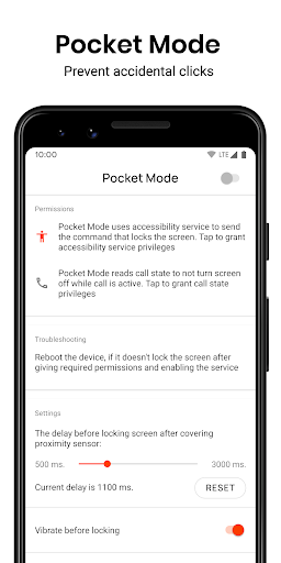 Pocket Mode: Prevent accidental clicks screenshot 1
