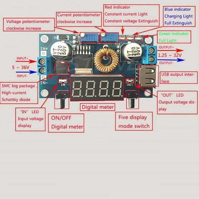 Mạch hạ áp ,sạc đa năng có điều chỉnh 5A - Có hiển thị