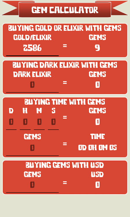 Gem Calculator for Clash of Clans – (Android Apps) — AppAgg