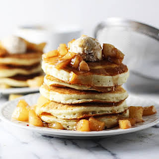 Vanilla Bean & Brown Butter Pancakes with Pear Compote & Cinnamon Mascarpone.