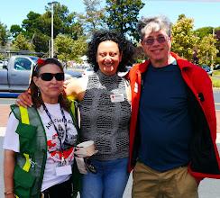 Photo: Rose (K6LEZ), Madeleine Biskintaoui (AF6NL) and Richard Fateman.