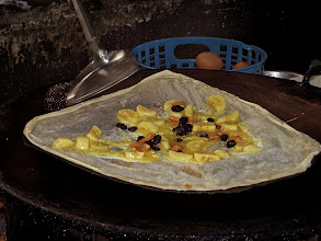 Photo: banana roti being made at Takua Pa roti shop