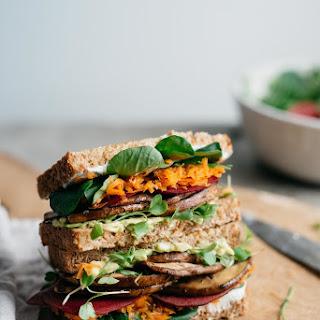 Avocado Club Sandwich w/ Marinated Portobello Mushrooms.