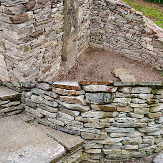 Curved Dry Stone Wall forming steps in Forest of Dean