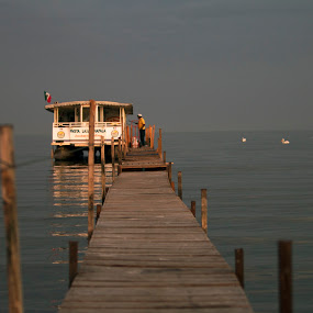 Boat waiting by Cristobal Garciaferro Rubio - Transportation Boats ( water, lagoon, pelikan, boat )