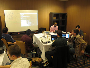 Photo: We also brought the projector to the sprint and grabbed a whiteboard from the hotel. Much easier to do group programming and hash out ideas this way...