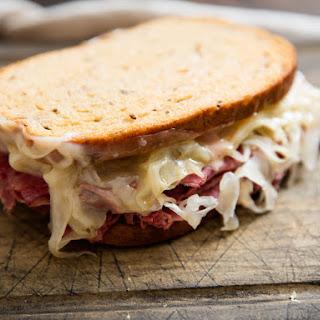 Classic Reuben Sandwich (Corned Beef on Rye With Sauerkraut and Swiss).