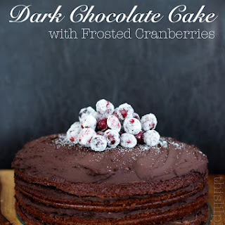 Dark Chocolate Cake with Frosted Cranberries