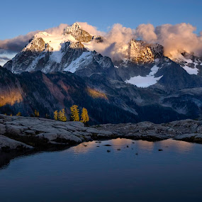 Mount Shuksan Cool Sunset by Clement Stevens - Landscapes Mountains & Hills ( water, clouds, mountain, clement stevens photography, shadow, lake, light )