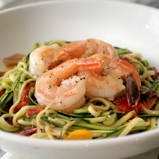 Shrimp and Zoodles with Roasted Cherry Tomatoes