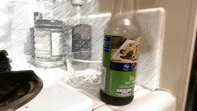 """Photo: """"Foregrounder"""" with sketch effect. Notice the area around the soy sauce that's accidentally included."""