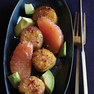 Curry Dusted Scallops with Grapefruit.
