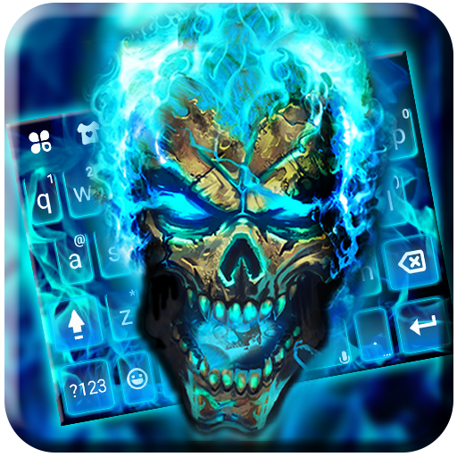 Blue Flame Skull Keyboard Theme Icon