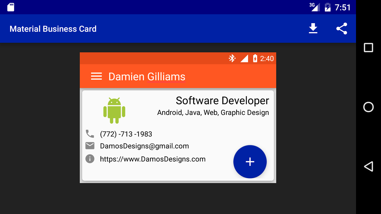 Material Design Business Card - Android Apps on Google Play