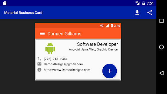 Material design business card apps on google play screenshot image colourmoves
