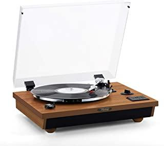 Rcm Wooden Wireless 3-Speed Turntable with Stereo Speakers Vinyl Record Player, Belt-Drive, Vinyl to MP3 Recording, RCA Li...