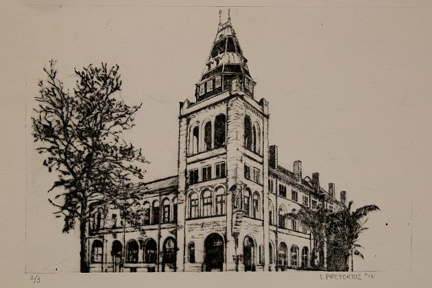 An ink art exhibit of the old Post Office building that housed the former Baakens Police Station can be viewed at Park Drive's GFI Gallery