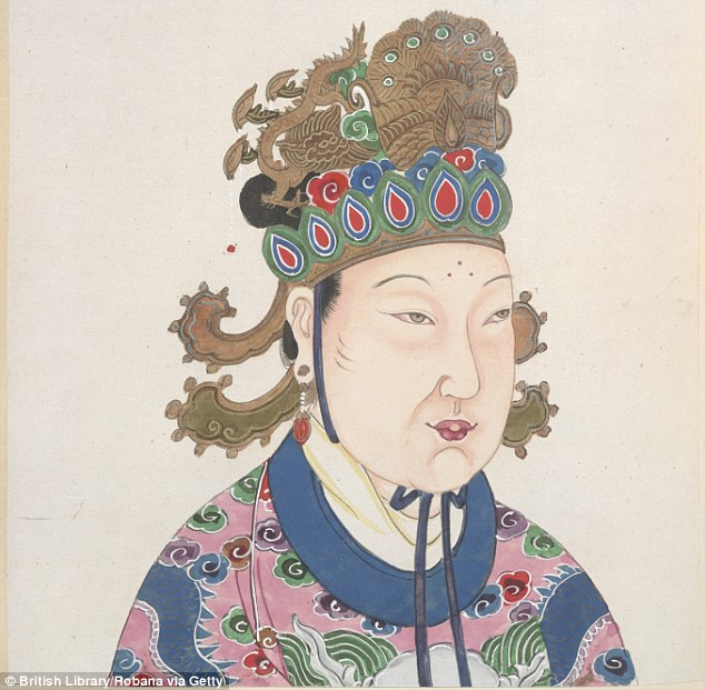 Empress Wu at the peak of her reign, as depicted in a much later 18th-century painting