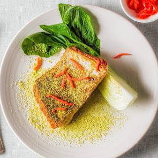 Wasabi-pea Dusted Salmon