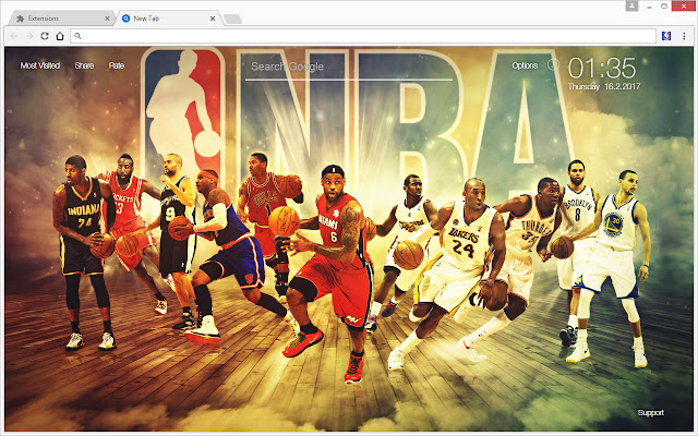 Get NBA All Stars NewTab Themes To Enjoy HD Wallpapers Of The National Basketball Association League In Every New Tab