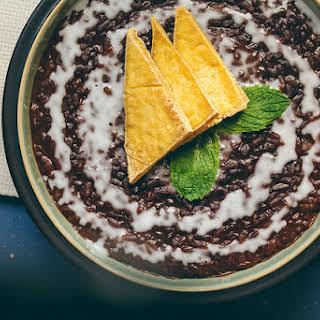 Vegan Champorado (Filipino Chocolate Rice Porridge) with Salted Tofu Chips.